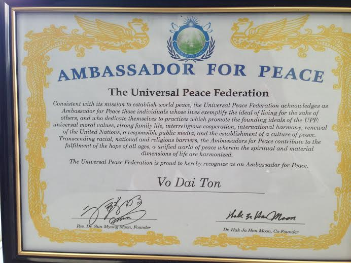 Vo Dai Ton - ambassador for peace